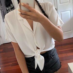 Dynamite - Tie Front Button Up Crop White Blouse